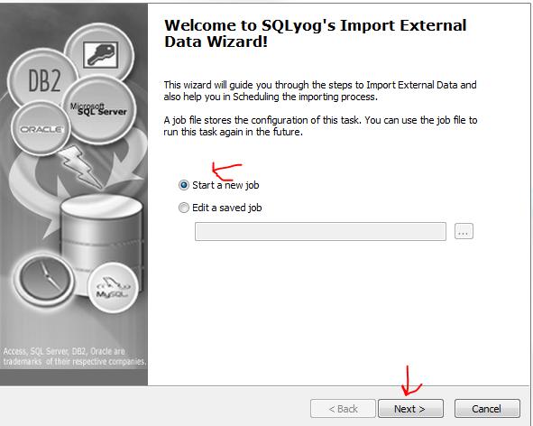 SQLYog Import external data step 1