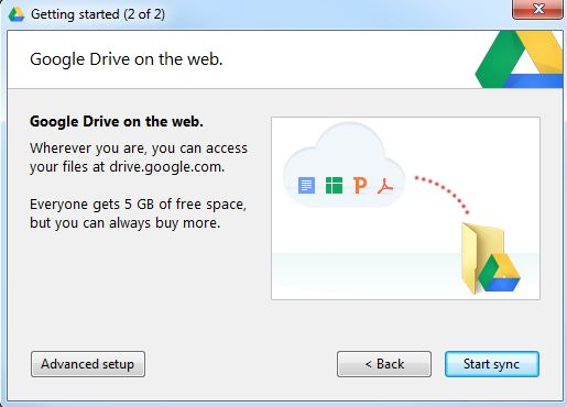 Google Drive advanced options