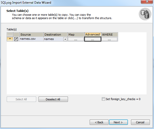 SQLYog import CSV step 5