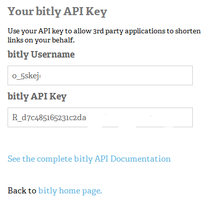 bit.ly api key